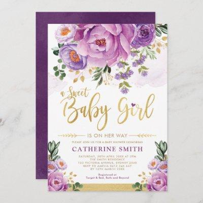 Sweet Baby Girl Purple Gold Peonies Baby Shower Invitation