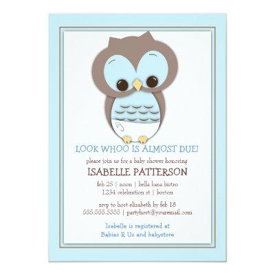 Sweet Baby Owl Boy Whoo Baby Shower Invitations
