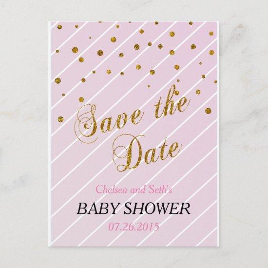 Sweet Baby Pink and Gold Confetti Invitation Postcard