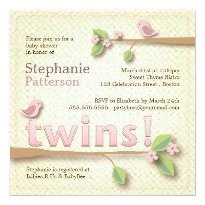 Sweet Birdie Twin Girls Invitations