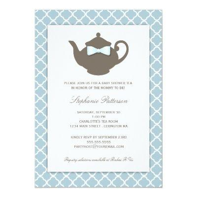 Sweet Blue | Brown Teapot Baby Shower Tea Party Invitations