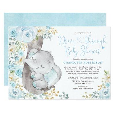 Sweet Blue Floral Elephant Drive By Baby Shower Invitation