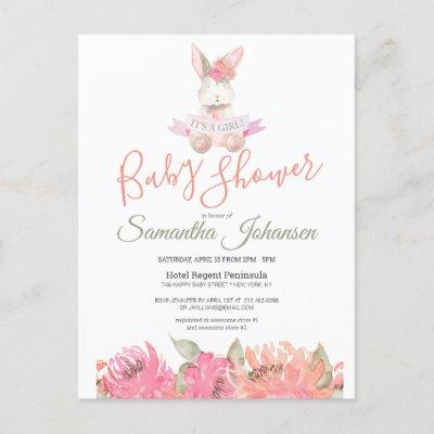 Sweet Boho Bunny Pretty Pink Floral Baby Shower Invitation Postcard