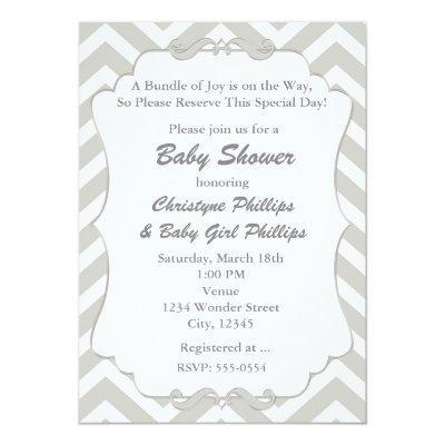 Sweet Chevron White & Grey Baby Shower Invitations