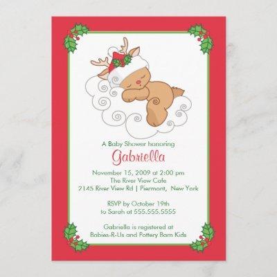 Sweet Christmas Baby Shower Invitation Baby Deer