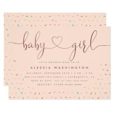 Sweet Colorful Sprinkle Rose Gold Girl Baby Shower Invitation