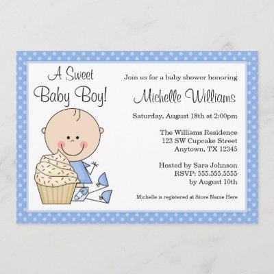 Sweet Cupcake Blue Polka Dot Boy Baby Shower Invitation