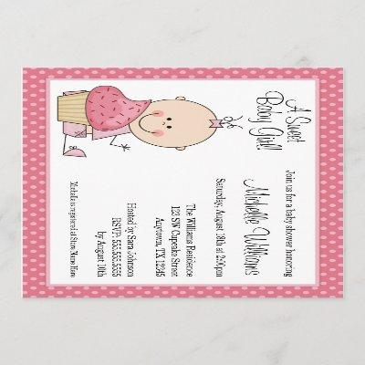 Sweet Cupcake Pink Polka Dot Girl Baby Shower Invitation