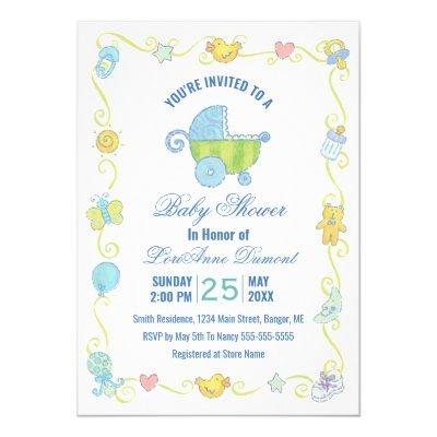 Sweet Dreams Carriage Blue and White Baby Shower Invitation