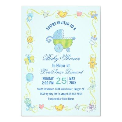 Sweet Dreams Carriage Blue Baby Shower Invitation