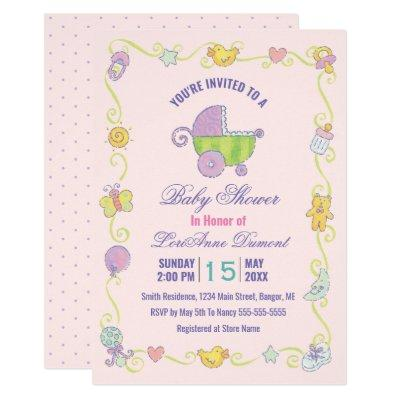 Sweet Dreams Carriage Pink Baby Shower Invitation