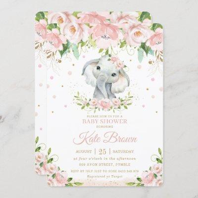 Sweet Elephant Blush Pink Floral Gold Baby Shower Invitation