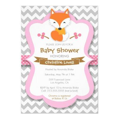 Sweet Fox Pink Baby Shower Invitation