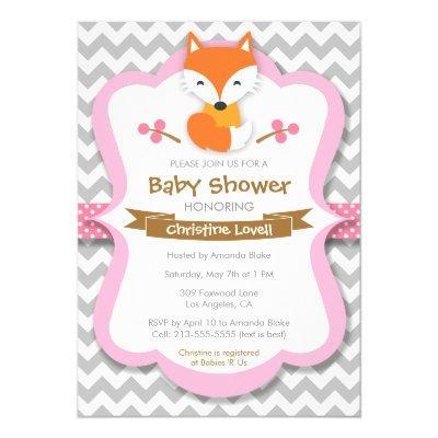 Sweet Fox Pink Invitations