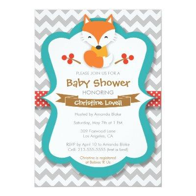 Sweet Fox Red & Turquoise Baby Shower Invitation