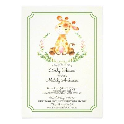 Sweet Giraffe Neutral Baby Shower Invitations