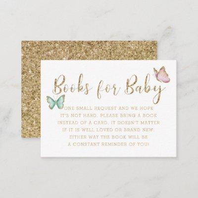 Sweet Gold Butterfly Baby Shower Book Request Enclosure Card