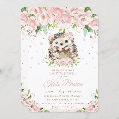Sweet Hedgehog Blush Pink Floral Gold Baby Shower Invitation