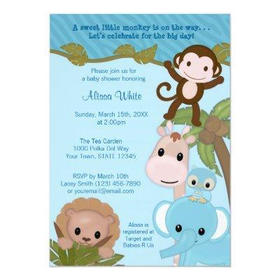 Sweet Jungle Babies Baby Shower Invitation blue