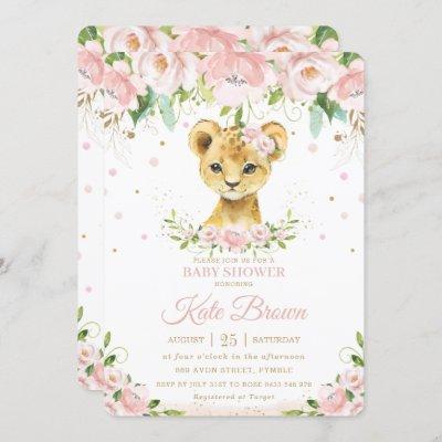 Sweet Lion Blush Pink Floral Gold Girl Baby Shower Invitation