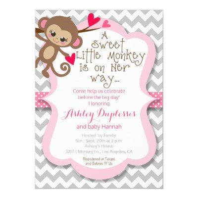 Sweet Little Monkey Girl Baby Shower Invitation