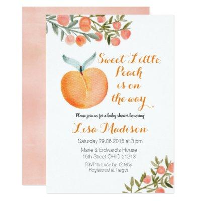 Sweet Little Peach is on the way Baby Shower Invitation