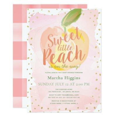 Sweet Little Peach Pink Baby Shower Invitation