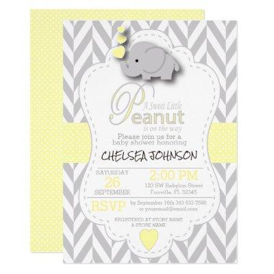 Sweet Little Peanut Elephant Baby Shower - Custom Invitations