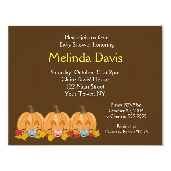 Sweet Little Pumpkins Fall Baby Shower Invitations