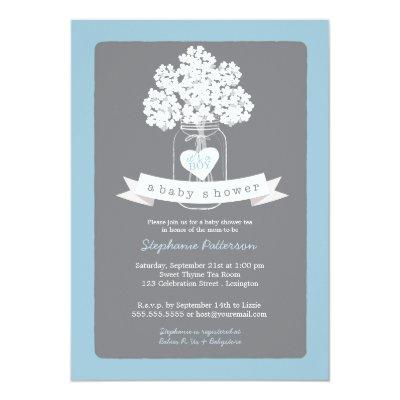 Sweet Mason Jar Blue | Gray Invitations
