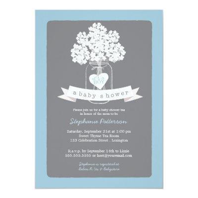 Sweet Mason Jar Blue | Gray Baby Shower Invitation