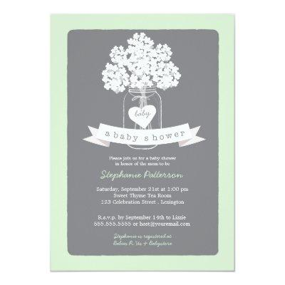 Sweet Mason Jar Neutral Baby Shower Invitations