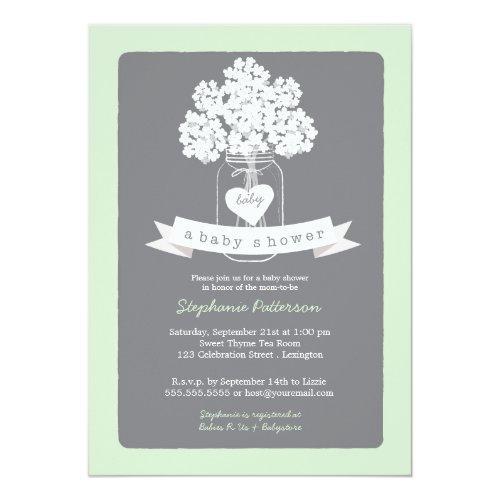 Sweet Mason Jar Neutral Baby Shower Invitations