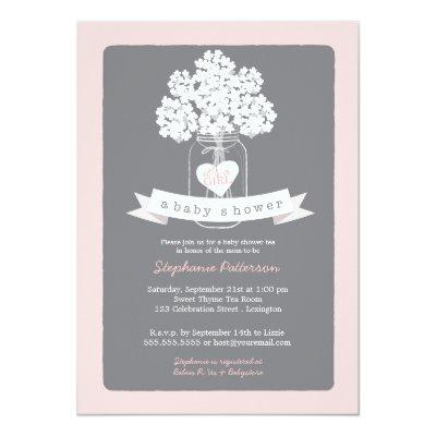 Sweet Mason Jar Pink | Gray Baby Shower Invitations