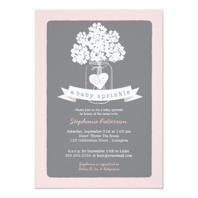 Sweet Mason Jar Pink | Gray Baby Sprinkle Invitations