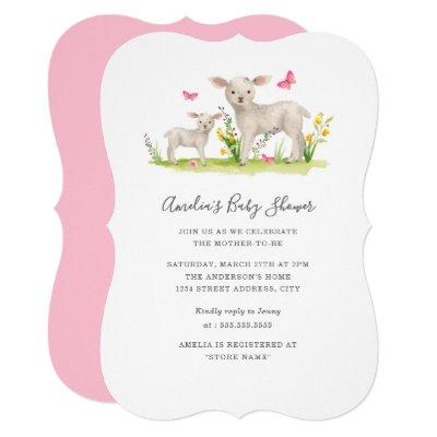 Sweet Mom Baby Sheep Baby Shower Invitation