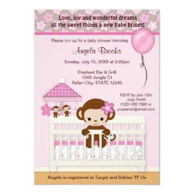 Pink monkey baby shower invitations baby shower invitations baby sweet monkey baby shower invitations sm k pink filmwisefo