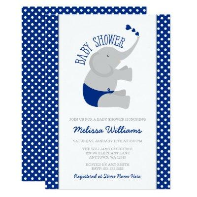 Sweet Navy Blue Gray Elephant Baby Shower Invitation