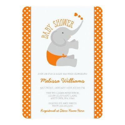 Sweet Orange Gray Elephant Invitations