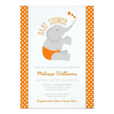 Sweet Orange Gray Elephant Baby Shower Invitations