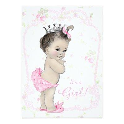 Vintage princess baby shower invitations baby shower invitations sweet pastel pink shab chic filmwisefo
