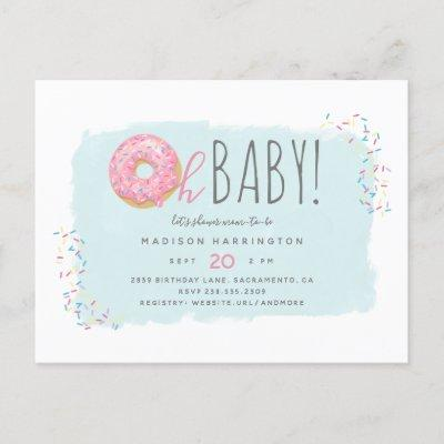 Sweet Pink Donut Sprinkle Modern Oh Baby Shower Invitation Postcard