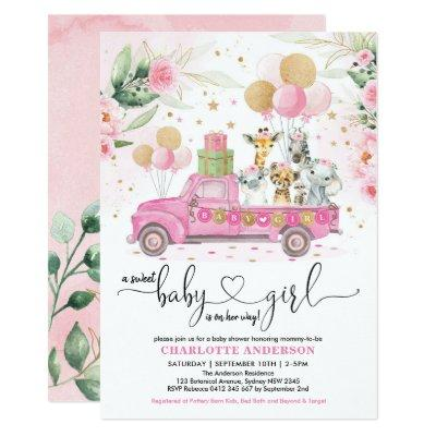 Sweet Pink Gold Safari Animals Girl Baby Shower Invitation