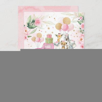 Sweet Pink Gold Safari Animals Girl Baby Shower Invitation