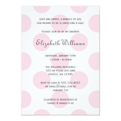 Sweet Pink Polka Dots Baby Girl Shower Invitations