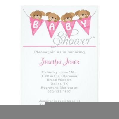 Sweet pink puppy baby shower invitations