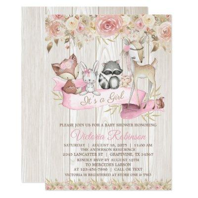 Sweet Rustic Forest Woodland Animal Baby Shower Invitations