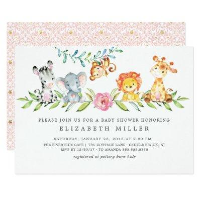 Sweet Safari Animals Baby Shower Invitations