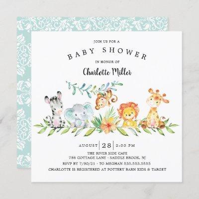 Sweet Safari Animals Gender Neutral Baby Shower In Invitation