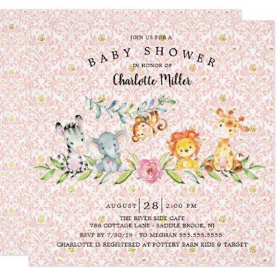 Sweet Safari Animals Girls Baby Shower Invitation
